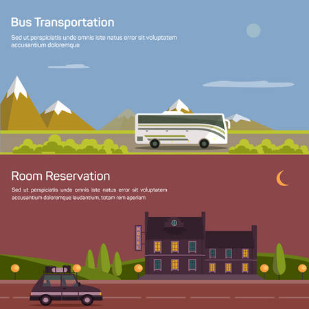 reservation: Bus and car with luggage or baggage on road near mountains and bushes under sky with sun and moon. Hotel or inn, motel or lodging for room reservation. Concept of traveling and tourism