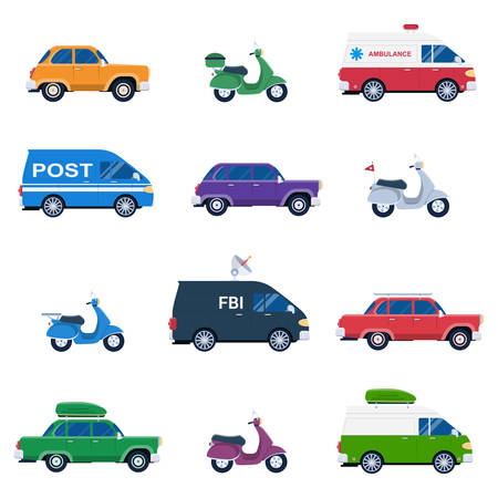 family vacation: Collection of different cars like ambulance and post minivan, fbi automobile and classic family sedan, motorcycles or gas minibikes assortment for traveling and vacation