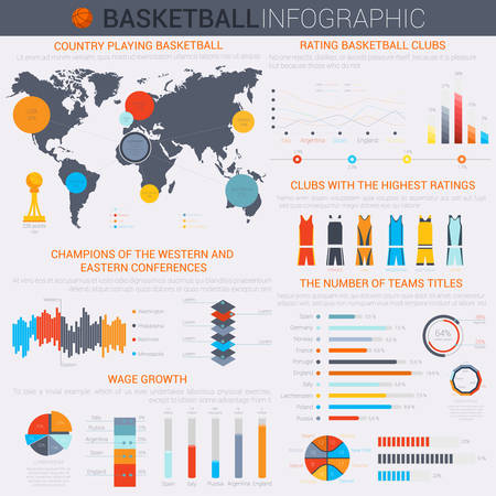 infochart: Basketball infochart or infographic template with segmented circle and linear, isometric oval charts, world map and team colorful uniform of shirts and shorts Illustration