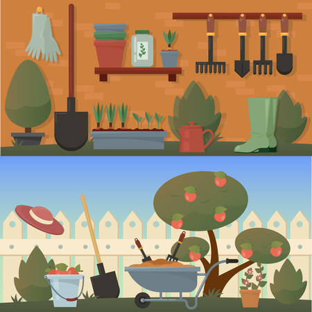 Garden or agricultural accessories or tools, instruments. Equipment for farmyard. Trowel, shovel, apple, carrot, rubber gloves, pot with plants and spade, bucket and wooden fence, hat