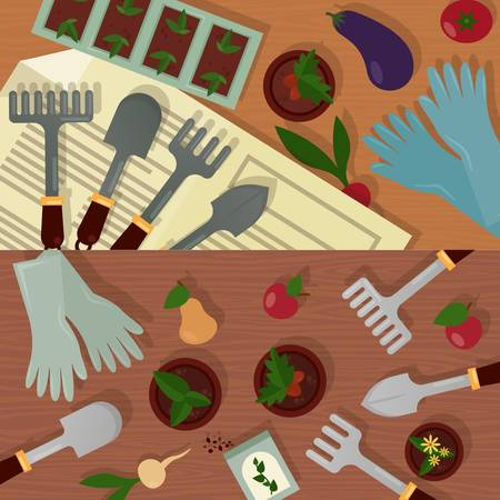 Agricultural and garden accessories or equipment, tools and instruments. Trowel and shovel, radish and eggplant, tomato and carrot, rubber gloves and pot with plants, radish and apple, pear and carrot Illustration