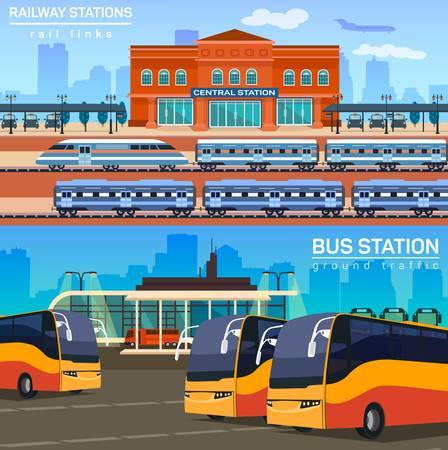 conception: Rail network or link with train or locomotive, express and bus station for passenger and luggage transportation. Tourism and travel, trip conception