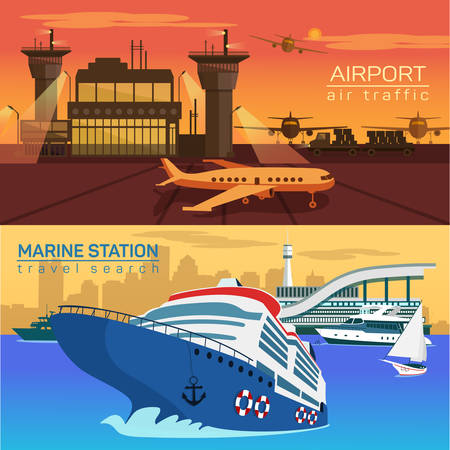 water transportation: Airport with planes or jets, airplanes and air control towers. Sea or ocean with ships and yachts with sail or canvas. Public naval and marine water and speed air transportation Illustration