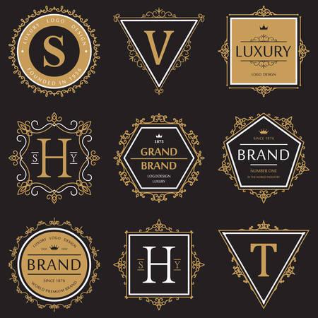 grand sale sticker: Set or collection of ornate or vignette brand or product vintage banner Illustration