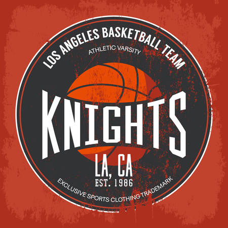 Knights basketball academy team logo or banner with orange ball and text in circle shape. For banner on sport gear or sportswear logotype or symbol, urban varsity or street t-shirt