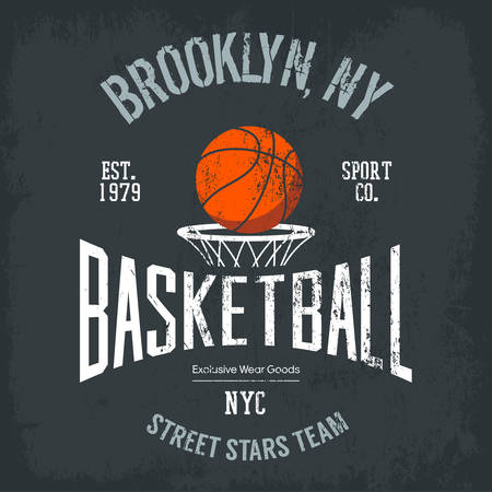 varsity: Streetball or urban sport team badge or sign, logo or banner of orange ball above basket with net. Varsity design for street sportswear or sport gear logotype on t-shirt