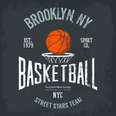 sign orange: Streetball or urban sport team badge or sign, logo or banner of orange ball above basket with net. Varsity design for street sportswear or sport gear logotype on t-shirt