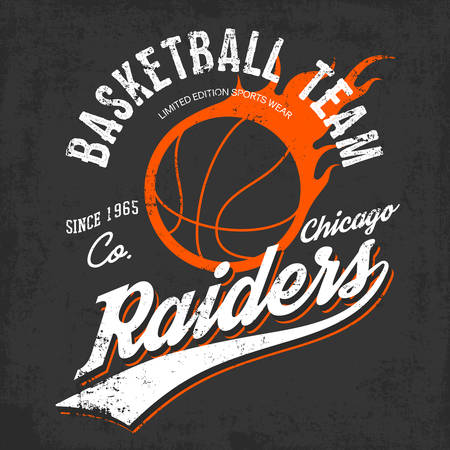 nba: Raiders basketball team logo or sign of burning orange ball and text raiders below on gray. Can be used for exclusive sportswear or sport gear logotype or symbol, urban or street shirts.