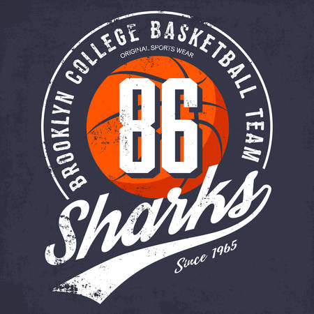 team sports: Brooklyn logotipo del equipo de baloncesto de la universidad o la bandera con la pelota naranja y texto en. El uso prefirió como estandarte en el engranaje del deporte o ropa deportiva logotipo o símbolo, equipo universitario universidad o en la calle de la camiseta Vectores