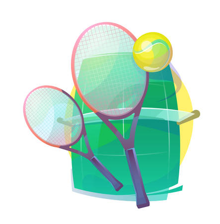 Illustration for tennis with wooden racks or rackets, racquet and ball with bleaks, grass court with net. Illustration