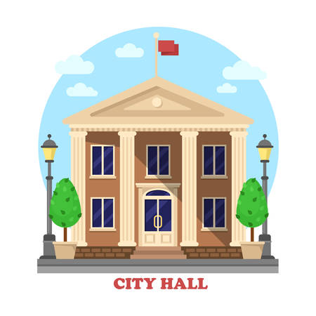 townhouse: City hall architecture facade of building exterior with flag on top and bushes near entrance with steps, lanterns or lamps on sides of townhouse or mayor, parliament house