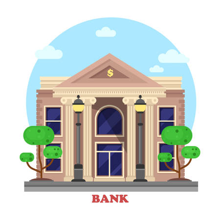 lending: Financial building facade or bank architecture exterior with pillar or column and bushes or trees on sides with lamp or lantern. Cityscape social business construction for credit or money lending