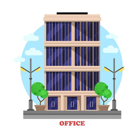 administrative buildings: Business office architecture facade or building outdoor exterior with bushes or trees, lamp or lantern on sides, tall windows. Administrative skyscraper for renting rooms for office work Illustration
