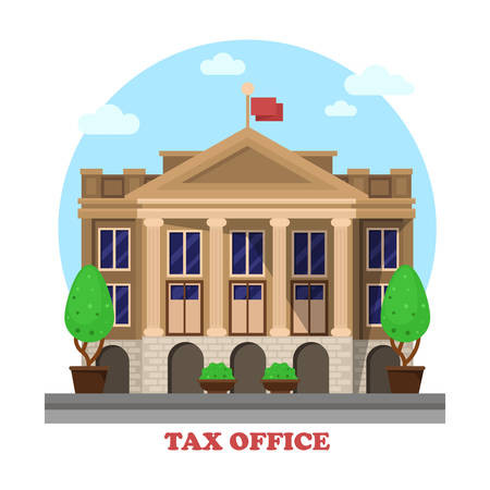 office construction: Tax office architecture or financial building facade exterior with column or pillar and bushes or trees on sides. Cityscape social business construction for income tax department or revenue service. Illustration