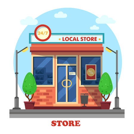 panorama view: Local shop or store building outdoor exterior with trees near lantern or bushes near lamp. Day and night working boutique panorama view. Business and trading theme Illustration