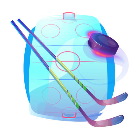 bleak: Field or ice hockey sticks and rubber frozen disc puck with air tail