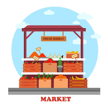 Banco alimentare o bancarella al mercato o bazar, finestra con generi alimentari o buono come il pomodoro e la carota con prezzi su di loro esposizione, cipolla e limone fresco, gustoso banane Archivio Fotografico - 60019209