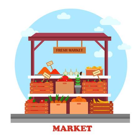 Eten balie of kraam op de markt of bazaar, etalage met boodschappen of goed, zoals tomaat en wortel met prijzen op hen, ui en verse citroen, lekkere banaan