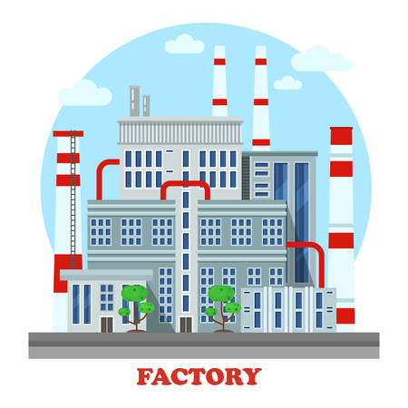 industrial construction: Manufacturing plant or factory, refinery with pipes and chimneys side street view exterior. Urban industrial cityscape construction for energy production panorama Illustration