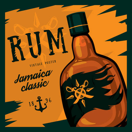 Rum or rhum glass bottle with swords on compass and anchor retro or vintage, old looking poster. Jamaica classic alcohol beverage. Can be used for bars or restaurant advertising theme