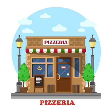 residential tree service: City italian pizzeria facade front street view with menu, trees or bushes and lamp or lantern. Fast food shop outdoor exterior. For eating or selling themes
