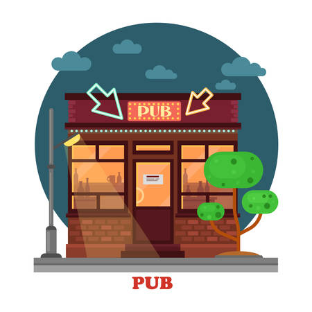 panorama view: Side street view on night pub with silhouettes of aclohol beverages and lightning lantern or lamps, highlighted arrows and cloudy sky. Urban facade exterior panorama Illustration