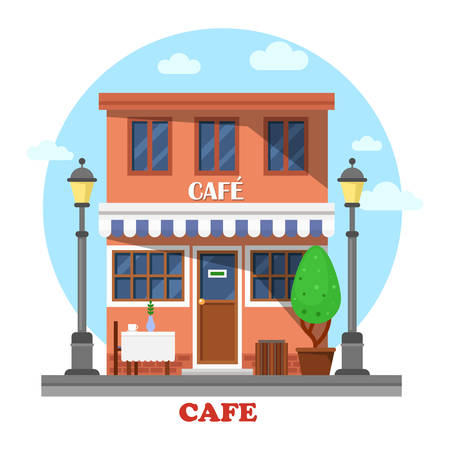 residential tree service: Architecture of cafe street exterior view with table and vase with cup on it, lanterns or lamps, tree or bush, garbage can. Side urban outdoor view on small business building providing services.
