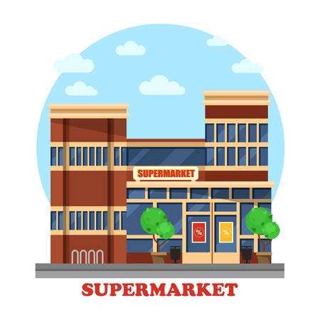 panorama view: Around the clock or day and night supermarket outdoor exterior with garbage cans and bushes or trees. Boutique panorama view. Can be used for trading or business, shopping theme