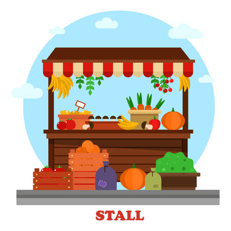 market place: Market or bazaar stall or food counter with tomato and carrot, orange and mushroom, pumpkin and lemon with price, cherry, banana hanging from above and bag of groceries or goods on the ground