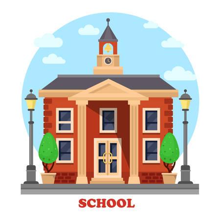 fachada de la escuela primaria o elemental, secundaria o primaria, secundaria o preparatoria para la educación, la enseñanza y el aprendizaje con el reloj y la campana en la torre, arbustos o árboles, columnas y escalones, lámpara o linterna