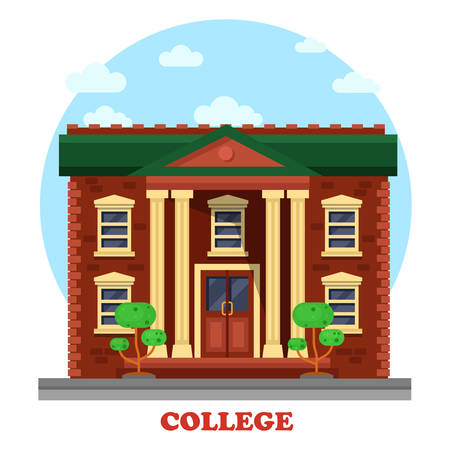 Facade of national college corpus for secondary or higher education. Side view on degree awarding educational institution with windows and columns, bushes or trees