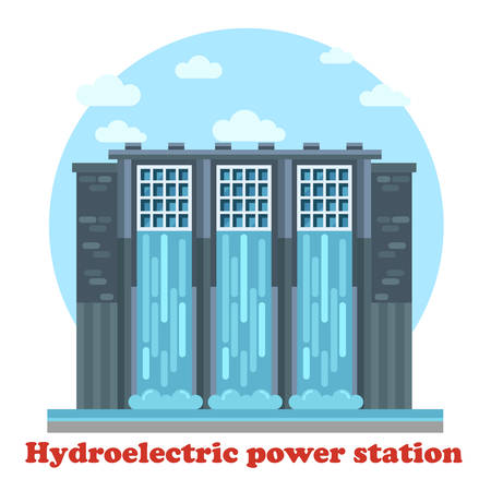 powerhouse: Large hydroelectric power station and water falling from dam Illustration