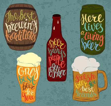 cask: Wood barrel or keg with beer and aluminium or steel beverage can, glass bottle with condensated liquid drops and pint glassware. Lettering with detailed font on stein or mug, jug with light and dark beer, cask ale and lager. Bar and restaurant use Illustration