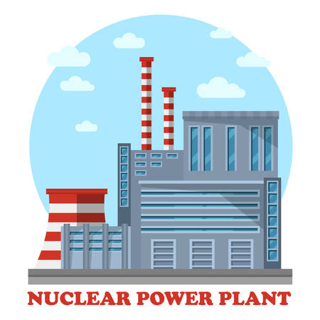 powerhouse: Nuclear power plant with reactor that makes electricity. Side view of steam turbine and tower for cooling water, chimney. Building for renewable and sustainable energy.