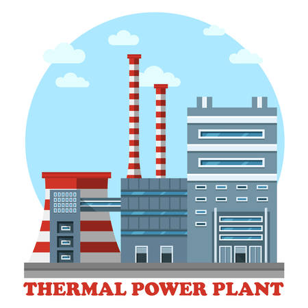 powerhouse: Thermal power station. Industrial power plant for heating energy to convert it to electricity using coal. Side view of cooling tower and chimney that polluting air with smoke or smog