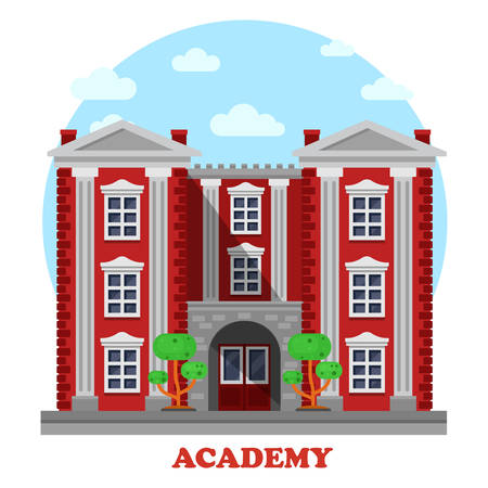 secondary: National military or science academy for secondary or higher education or study facade of building with columns and steps, trees or bushes side view panorama