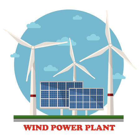 photovoltaics: Wind and solar power plants with wind turbines and squares facing sun to maximize energy and electricity gain. Concept of clean and renewable, sustainable energy, caring for ecology