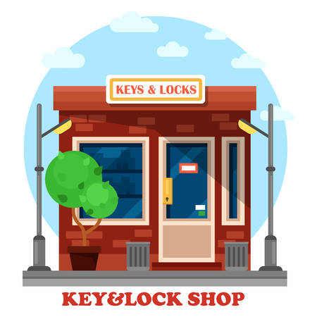 local business: Key and locks local shop or store with lamp or lantern, garbage can. Work or job with duplication, and cutting, repairing or creating metal keys. May be used for craftsman and business theme Illustration