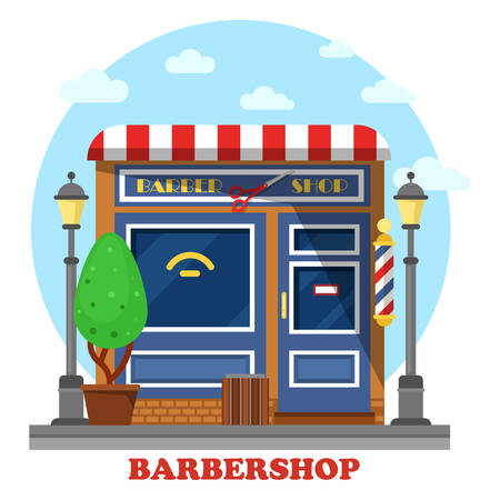 shops street: Barbershop or barbers store or shop building where hairdresser or stylist make haircuts and shaving and cutting beards. Facade with scissors and bush, lamp and garbage can Illustration
