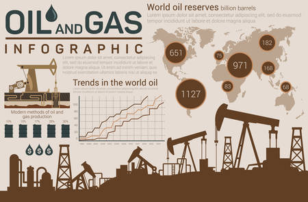 gas: Oil and gas template for infographic with dark silhouettes of pumps below and world map, linear and circle charts, barrels or roll with industrial production and drops with dollar sign
