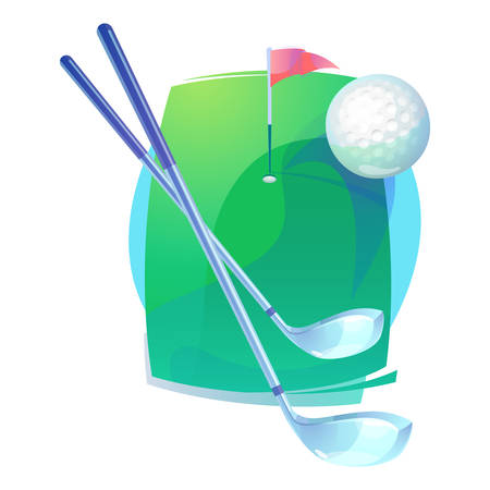 pitch: Golf gear or equipment that contains irons or hybrid, putters clubs and flying gutty ball with trail over level field or pitch with flag near hole. Can be used for championships or tournaments theme Illustration