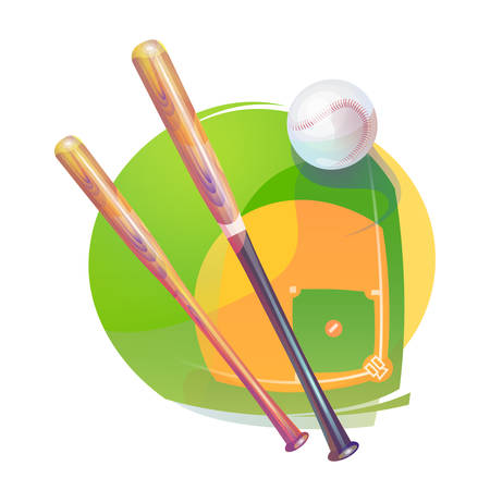 nl: Baseball yarn or string rubber white ball with air tail and bleak and crossed bats over national american diamond field or pitch. Sport gear or equipment that can be used for awards ceremony Illustration