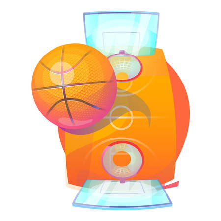 indoor court: Basketball eight-panel flying orange ball with light bleak over court or pitch with backboards and net. Indoor professional sport activity. For cups and championships, tournament theme