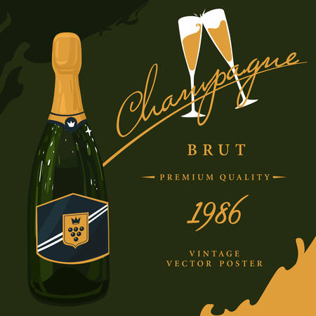 booze: Bottle of champagne with crown on sticker and two glasses with sparkling wine, beverage with bubbles vintage or old, retro poster. French or soviet, russian alcohol or booze.