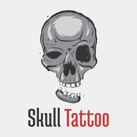 marauder: Grim skull tattoo with separated smiling jaw. Spooky and dangerous, dreadful and terrifying head of skeleton for emblem or mascot. Concept of fear and hazard, evil