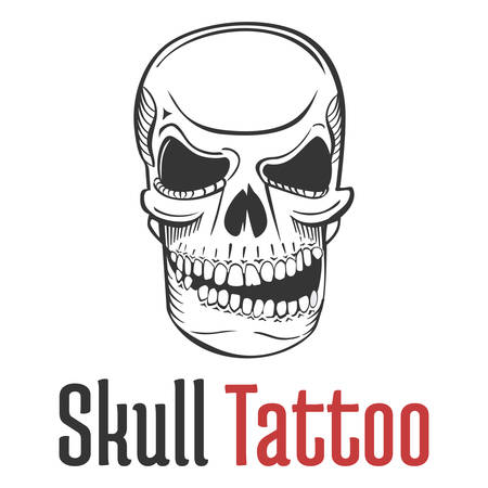fatal: Smirking and scary human skull tattoo with grin and teeth. Fearsome and dangerous, grim and dreadful, fatal and spooky skeleton mascot or emblem. Illustration