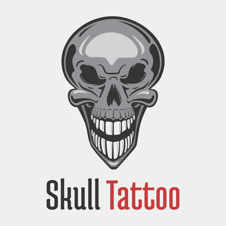 mercenary: Wide smiling skeleton skull tattoo showing his teeth. Dead and evil, terrifying and fearsome, scary and spooky, grim emblem or mascot design. Concept of danger and hazard, horror