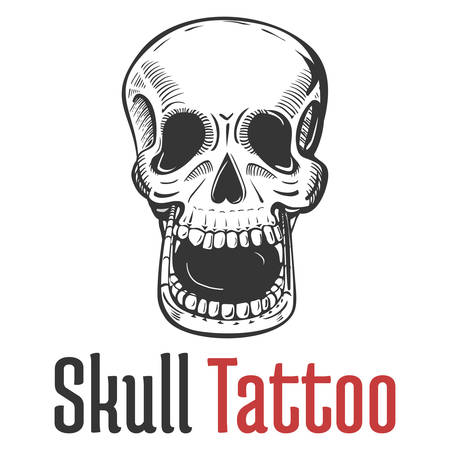 opened mouth: skeleton skull with wide opened mouth tattoo and teeth. Dreadful and dead, fearsome and scary, terrifying and spooky, scary skull in sketch style for mascot or emblem