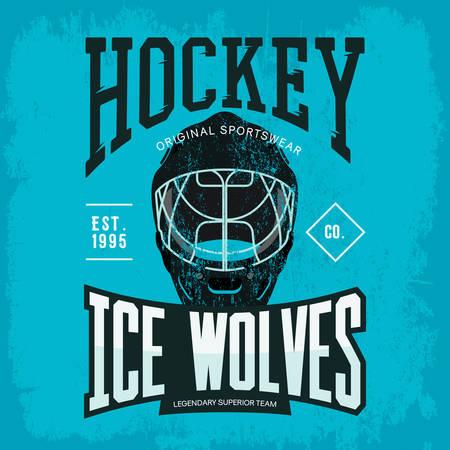 inline: Ice or inline hockey goalkeeper helmet or mask as sport team badge