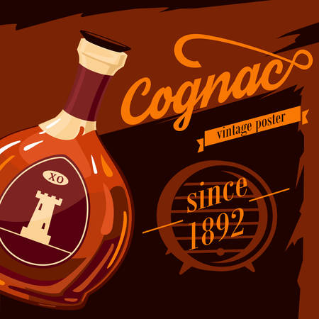 booze: Glassware bottle of cognac or armagnac vintage or retro, old style poster with fortification tower on sticker. Alcohol beverage or booze advertising. Can be used for bar or restaurant theme Illustration